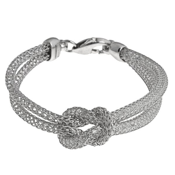 La Preciosa Sterling Silver Crystal Tube and Mesh Bracelet