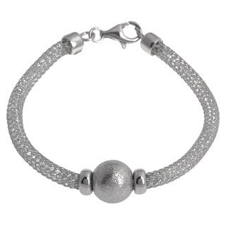 La Preciosa Sterling Silver 'Hidden' Crystal Mesh and Bead Pandora-style Cape Cod Bracelet