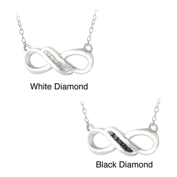 DB Designs Sterling Silver Diamond Infinity Necklace