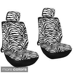 Velour Zebra / Tiger 6-Piece Seat Cover Set for Low Back Bucket Front Chairs