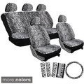 Velour Leopard / Cheetah Seat Covers 17-Piece Set Spotted Safari for Low Back Bucket Seats
