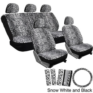Oxgord Velour Leopard / Cheetah Seat Covers 17-Piece Set Spotted Safari for Low Back Bucket Seats