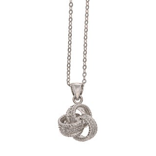 La Preciosa Sterling Silver Cubic Zirconia Love Knot Necklace