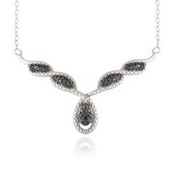 DB Designs Silver 1/10ct TDW Black Diamond 'V' Teardrop Necklace