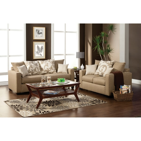 Furniture of America Aizo Modern Sandstone Fabric 2-Piece Sofa Set
