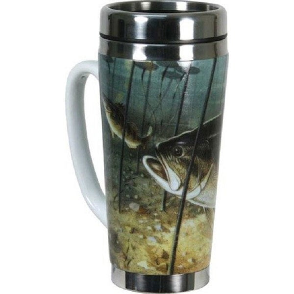 Rivers Edge Products 16 oz Ceramic/Stainless Steel Fishing Bass Travel Mug