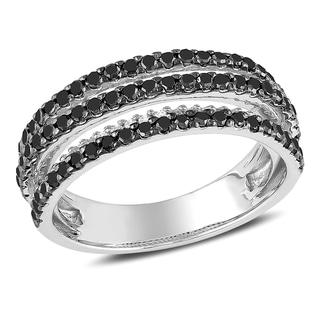 Miadora 10k White Gold 1ct TDW Black and White Diamond Ring (H-I, I2-I3)
