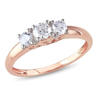 Miadora 14k Rose Gold 1/2ct TDW Diamond 3-stone Ring (G-H, I1-I2)