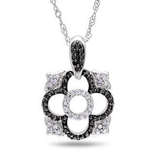 Miadora 14k Gold 1/5ct TDW Black and White Diamond Necklace (G-H, I1-I2)