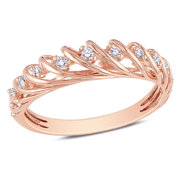 Miadora 14k Rose Gold 1/6ct TDW Diamond Ring (G-H, I1-I2)
