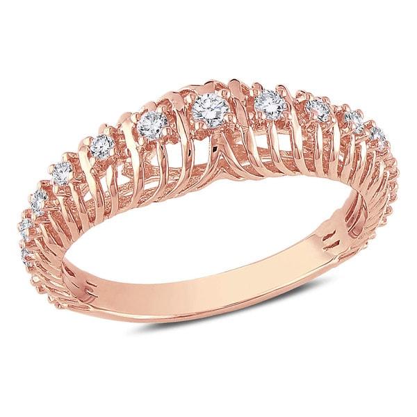 Miadora 14k Rose Gold 1/4ct TDW Diamond Ring (G-H, I1-I2)