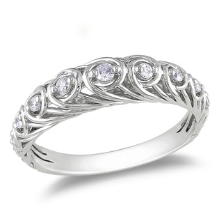 Miadora 14k White Gold 1/5ct TDW White Diamond Ring (G-H, I1-I2)