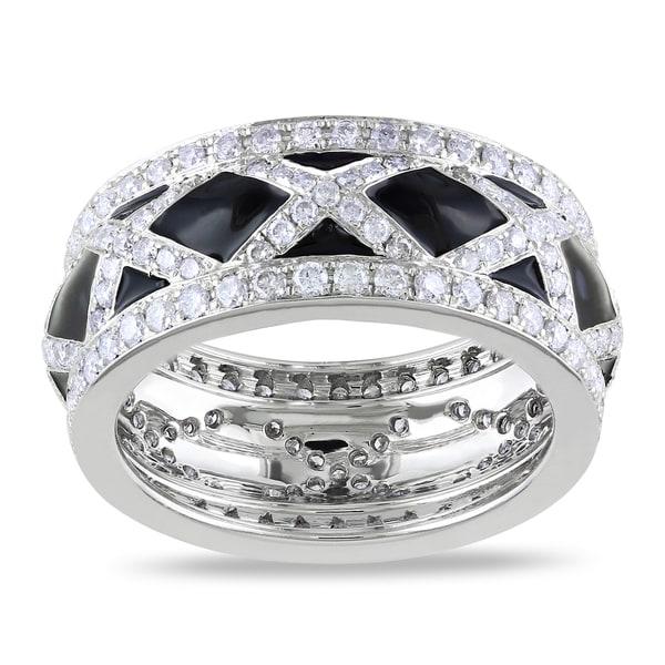 Miadora 14k White Gold 1 1/2ct TDW Black Enamel Diamond Fashion Ring (G-H, SI1-SI2)