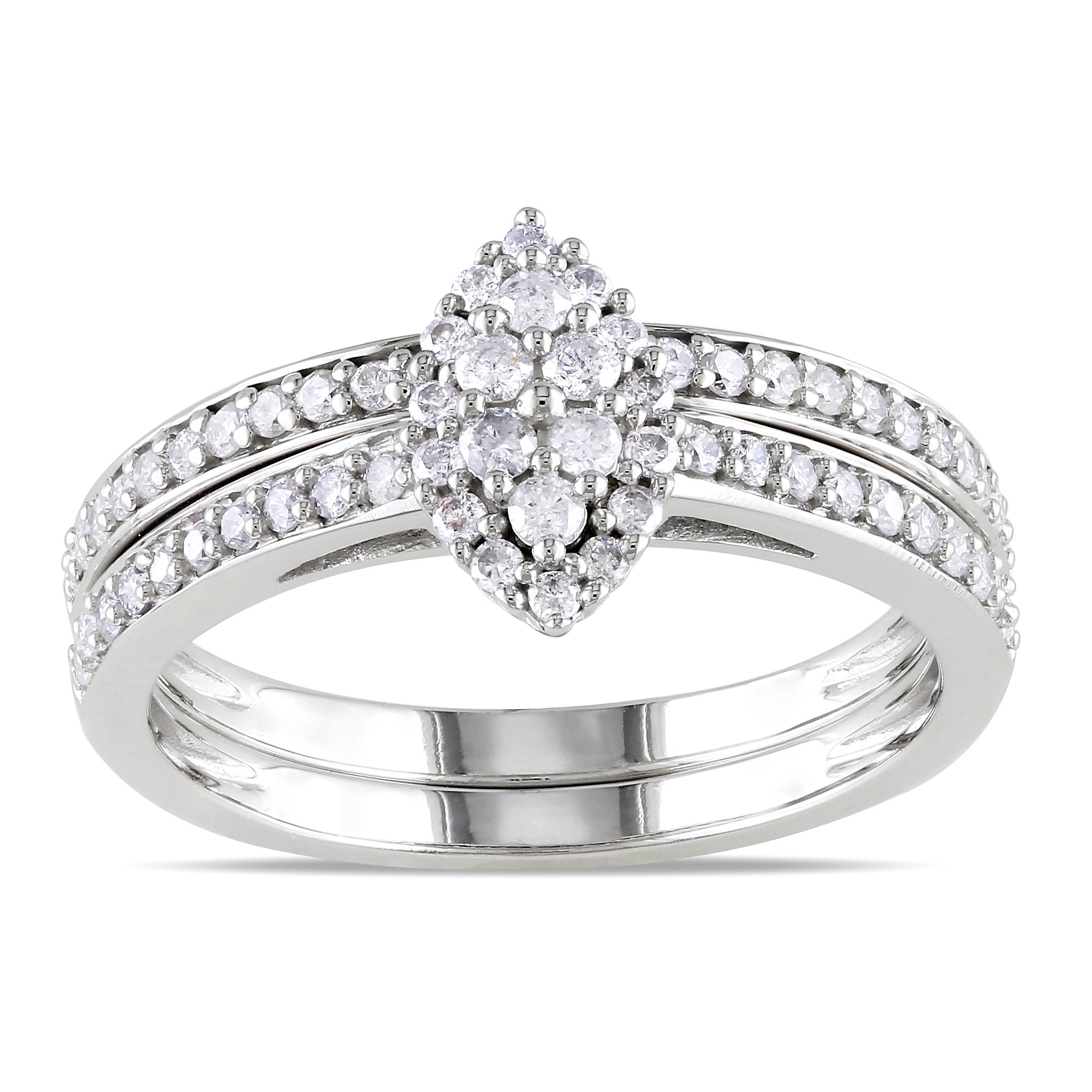 Miadora 10k White Gold 1/2ct TDW Diamond Bridal Ring Set (H-I, I2-I3) at Sears.com