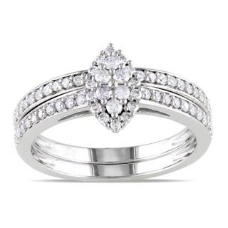 Miadora 10k White Gold 1/2ct TDW Diamond Bridal Ring Set (H-I, I2-I3) with Bonus Earrings