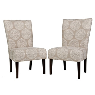 angelo:HOME Bradford Filigree Cream Tan Armless Chair Set (Set of 2)