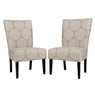 angelo:HOME Bradford Filigree Cream Tan Armless Chair Set (Set of 2)