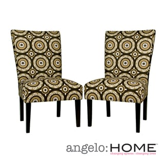 angelo:HOME Bradford Modern Pinwheel Chocolate Brown Armless Chair Set (Set of 2)