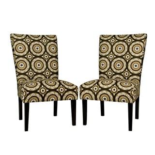 angelo:HOME Bradford Modern Pinwheel Chocolate Brown Armless Chair Set (Set of 2)
