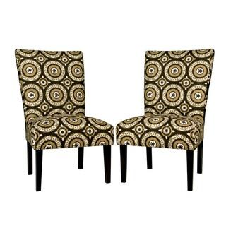 Portfolio Duet Chocolate Brown Pinwheel Armless Chair Set (Set of 2)