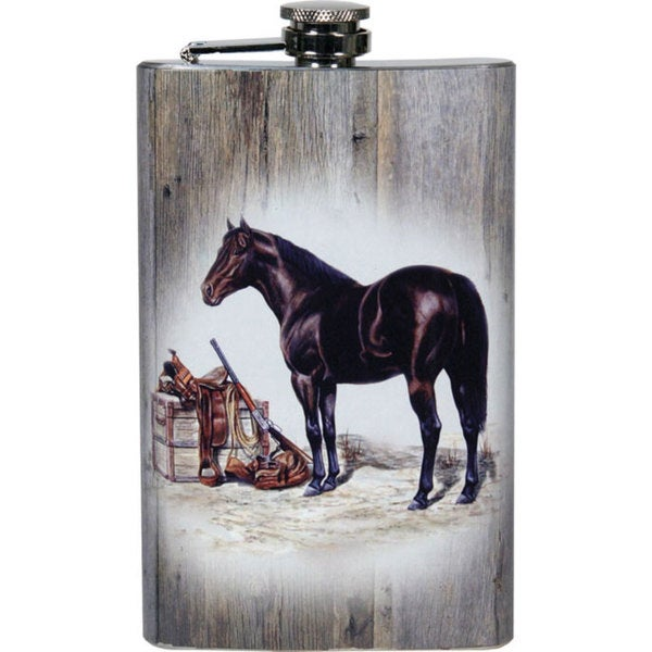 River's Edge 9-Ounce Flask Horse with Gun and Saddle Art