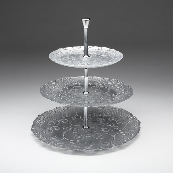 Sequins SIlver Gilded Glass Tiered Platter