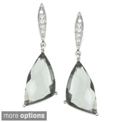 La Preciosa Sterling Silver Cubic Zirconia Drop Earrings