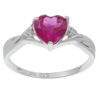 Sterling Essentials Silver Red Heart Stone Cubic Zirconia Ring