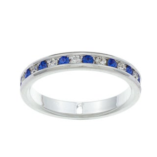 City Style Silvertone Blue and Clear Cubic Zirconia Eternity Ring