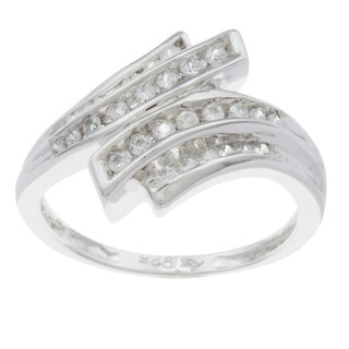 Sterling Essentials Silver Clear Cubic Zirconia Bypass Ring