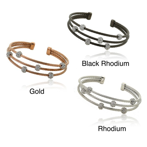 Riccova Plated Cubic Zirconia Ball 3-row Mesh Cuff Bracelet