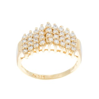 Sterling Essentials 14k Gold over Silver Cubic Zirconia Cluster Ring