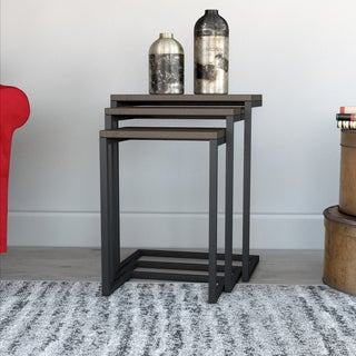 Olivia Black/ Chestnut Nesting Tables (Set of 3)