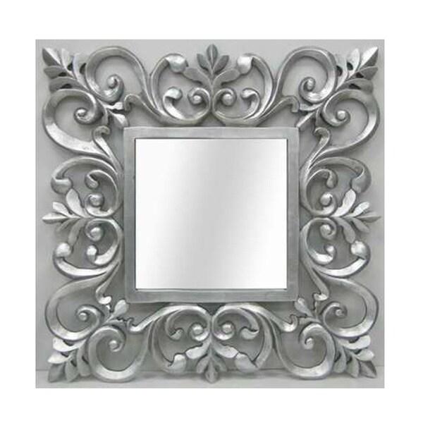 Ornate Silver Square Mirror