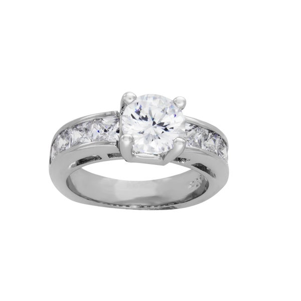 Sterling Essentials Silver Round Cubic Zirconia Bridal-style Ring
