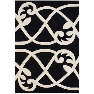 Alliyah Handmade Jet Black New Zealand Blend Wool Rug (9 x 12)