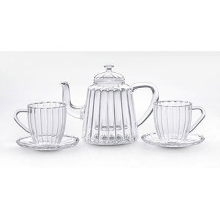 Bonjour Teapots 42-Ounce Glass Oblong Ribbed Teapot Set