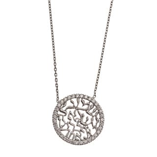 La Preciosa Sterling Silver CZ Hebrew 'Shema Yisroel' Circle Necklace