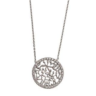 La Preciosa Sterling Silver CZ Hebrew 'Shema Yisroel' Circle Necklace