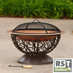 RST Outdoor Decorative Copper Fire Bowl with Cover