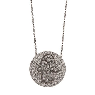 La Preciosa Sterling Silver Cubic Zirconia Hamsa Circle Necklace