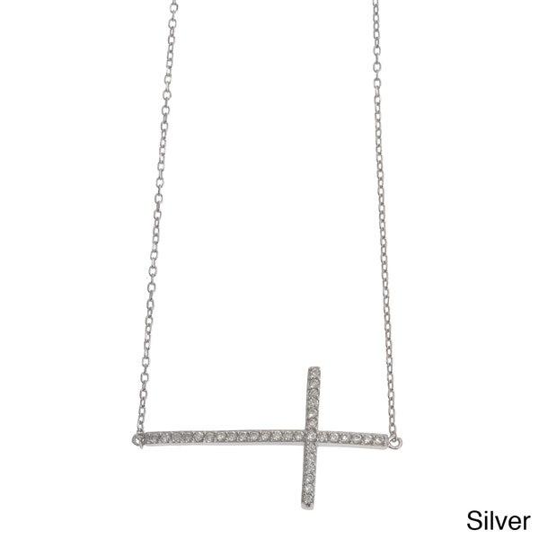 La Preciosa Sterling Silver Cubic Zirconia Large Sideways Cross Necklace
