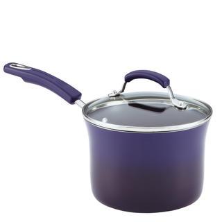 Rachael Ray Porcelain II 3-quart Covered Purple Saucepan