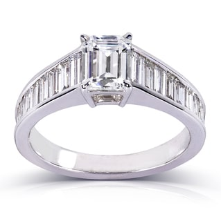 Annello 14k White Gold 2 1/5ct TDW Certified Baguette Diamond Ring (F, SI1)