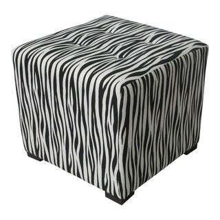 Sole Designs Black/White Stripe-Print Tufted Ottoman