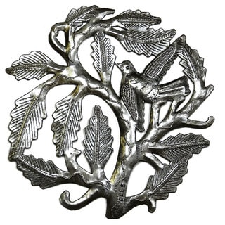Handmade Small Tree of Life With a Single Bird Metal Art - 8 inch (Haiti)
