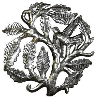Handmade Small Tree of Life With a Single Bird Metal Art - 8 inch (Haiti)