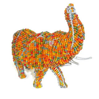 Handmade Elephant in Wire and Beads (South Africa)