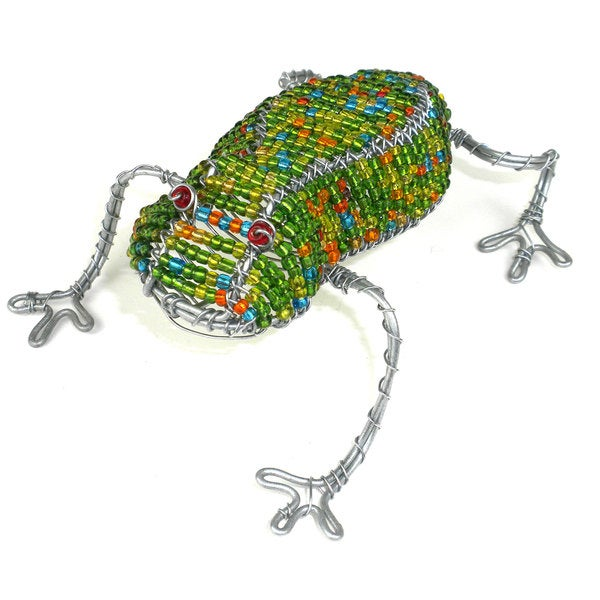 Handmade Frog in Wire and Beads (South Africa)