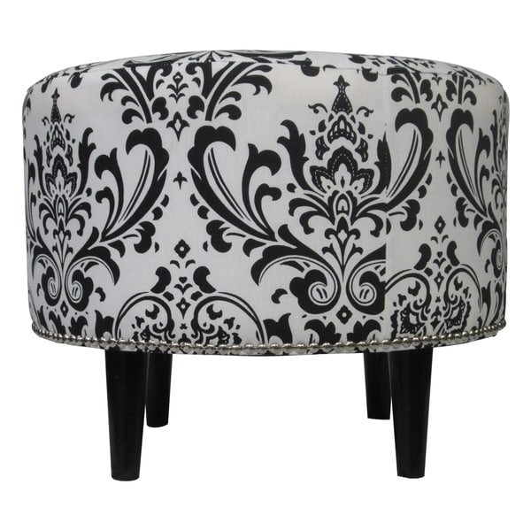 Sole Designs Sophia Traditions Black/ White Round Ottoman